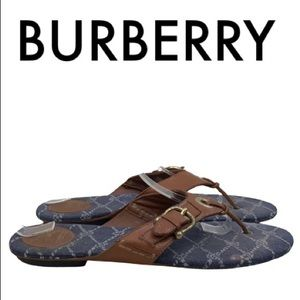 BURBERRY BROWN BLUE THONG SANDALS SIZE 10